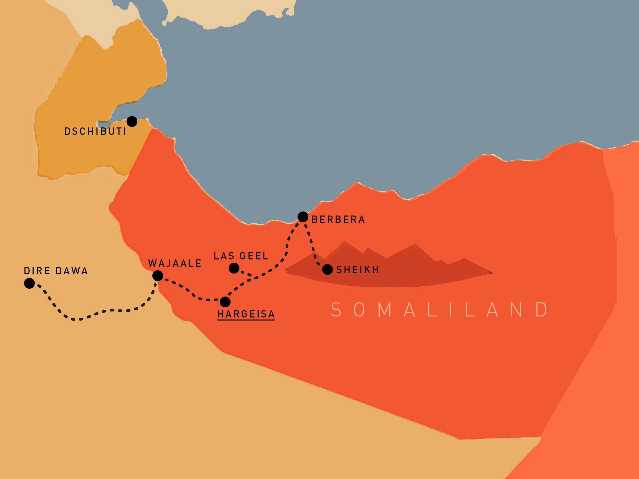 We start our journey in Ethiopia, in Wajaale we cross the border to Somaliland.