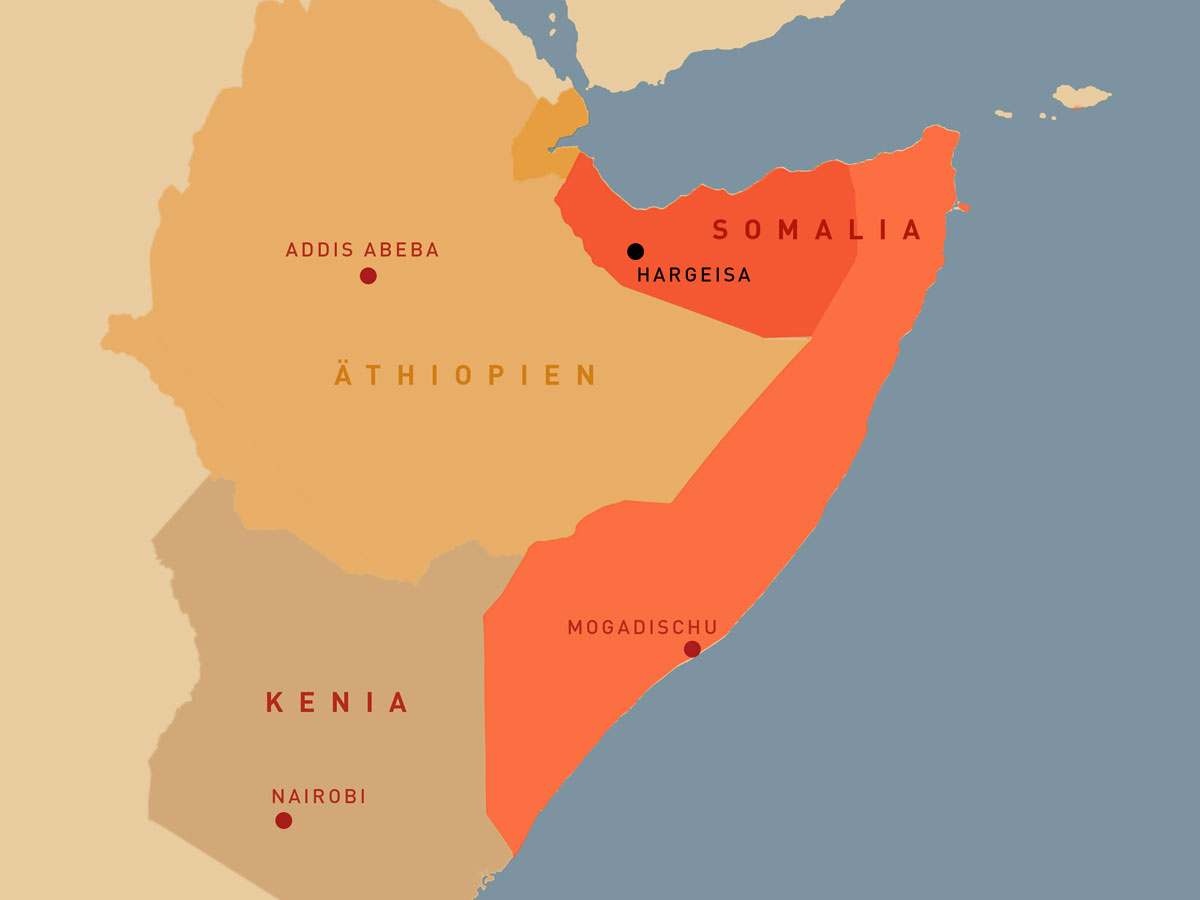 The Horn of Africa: Somalia is bordering Ethiopia, Kenya and Djibouti
