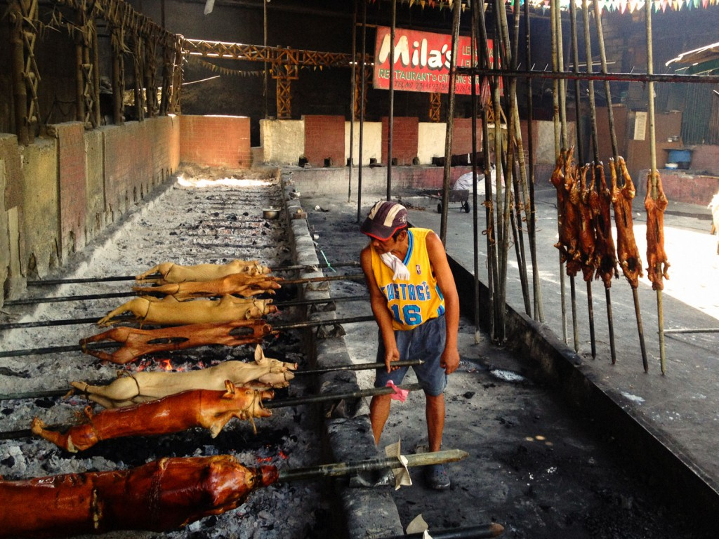 For lunch we have Lechon Baboy, which is delicious. Whole pigs are prepared on a spit in the restaurant.